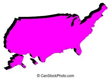 mappa, unito, silhouette, stati, vettore, america