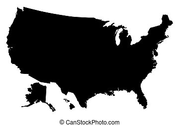 mappa, unito, silhouette, stati, vettore, nero, america