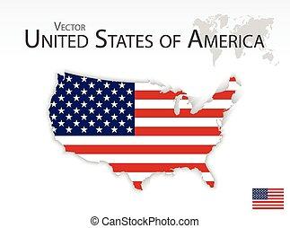 mappa, unito, ), (, stati, bandiera, america
