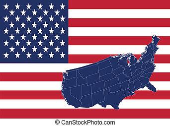 mappa, unito, &, stati, bandiera, america