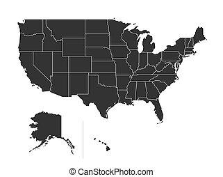 mappa, unito, stati uniti, isolato, stati, fondo., stato, bianco