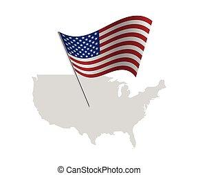 mappa, unito, stati uniti, stati, bandiera, america