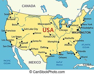mappa, unito, -, stati, vettore, america
