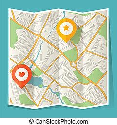 mappa urbana, astratto, piegato, posizione, markers.