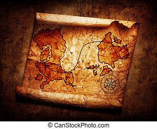 mappa, vecchio, tesoro, grunge, fondo