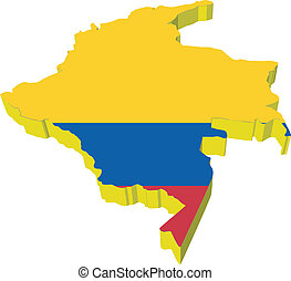 mappa, vectors, colombia, 3d