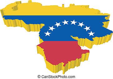 mappa, vectors, venezuela, 3d