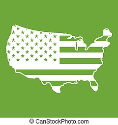 mappa, verde, stati uniti, icona