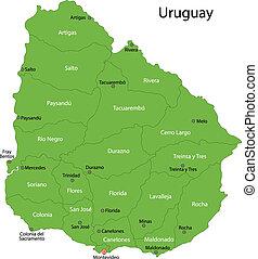 mappa, verde, uruguay