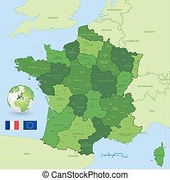 mappa, vettore, amministrativo, verde, francia