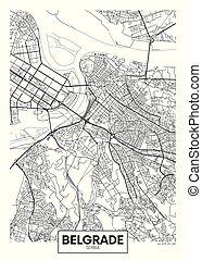 mappa, vettore, città, dettagliato, belgrado, manifesto