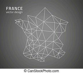 mappa, vettore, contorno, francia