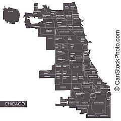 mappa, vettore, distretto, chicago