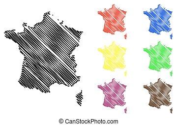 mappa, vettore, francia
