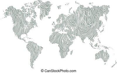 mappa, vettore, grigio, struttura, mano, fondo., legno, disegnato, mondo, bianco