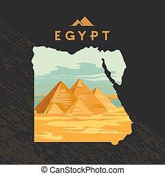 mappa, vettore, inciso, piramidi, illustrazione, gran sfinge, giza, egitto