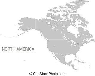 mappa, vettore, nord, grigio, america