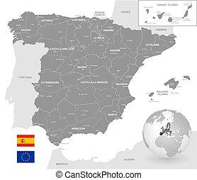 Cartina Spagna Politica Da Stampare.Carta Politica Spagna Da Stampare