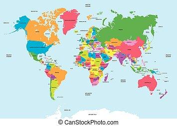 mappa, vettore, politico, mondo