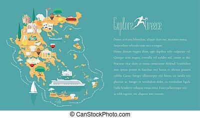 mappa, vettore, sagoma, illustrazione, grecia