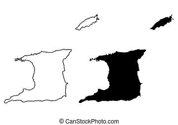 mappa, vettore, trinidad, tobago