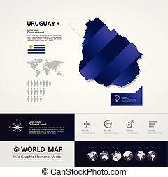 mappa, vettore, uruguay