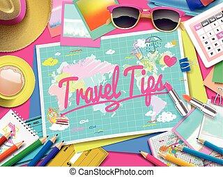 mappa, viaggiare, punte