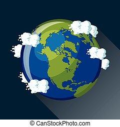 mappa, vista, america, terra, nord, space., pianeta
