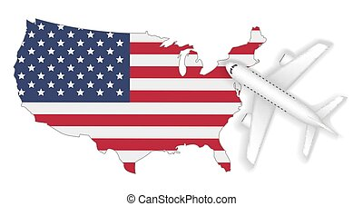 mappa, volo, viaggiare, bandiera, aeroplano, america