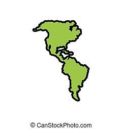 mappe, americano, silhouette, continente