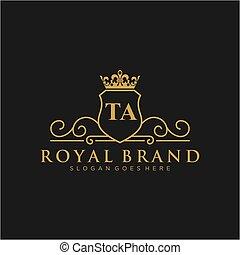 marca, iniziale, logotipo, lussuoso, template., ta, lettera
