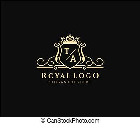 marca, lettera, altro, ta, lussuoso, ristorante, sagoma, logotipo, iniziale, regalità, illustration., moda, vettore, albergo, boutique, gioielleria, araldico, caffè