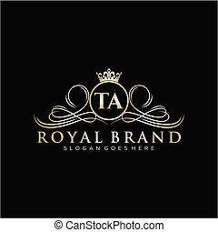 marca, logotipo, template., lettera, iniziale, lussuoso, ta