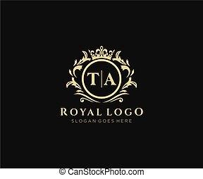 marca, lussuoso, ta, lettera, gioielleria, altro, boutique, illustration., ristorante, albergo, moda, araldico, sagoma, caffè, regalità, iniziale, vettore, logotipo