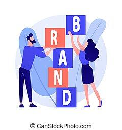 marca, metaphor., concetto, prodotto, vettore, costruzione