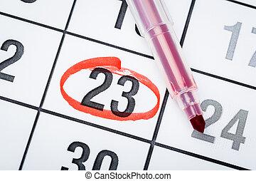 marcato, calendario, importante, marker., 2020, data, pagina, rosso