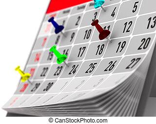 marcatura, perno, illustrazione, calendar., importante, giorno, 3d
