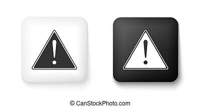 marchio, attenzione, azzardo, esclamazione, importante, segno, avvertimento, quadrato, icona, vettore, pericolo, bianco, button., nero, attento, segno., triangolo, isolato, fondo.