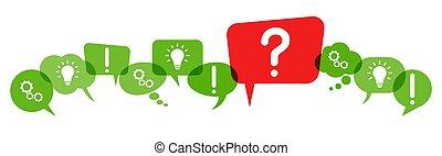 marchio, discorso, bolle, domanda, rosso