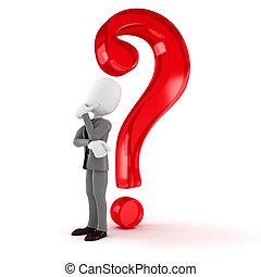 marchio, grande, domanda, uomo affari, bianco, uomo, 3d
