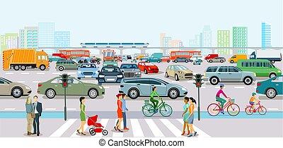 marciapiede, traffico, pedoni, ora, città, giunco