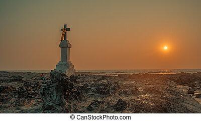 mare, croce, pietre, contro, cristiano, sunset.