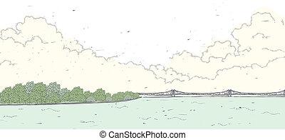 mare, sopra, ponte