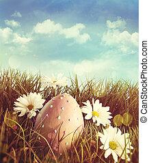 margherite, erba pasqua, uovo, grande