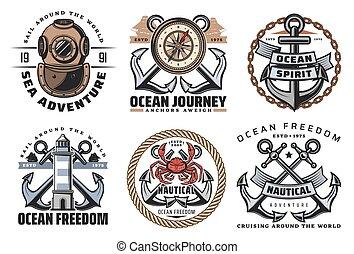 marina, etichette, vendemmia, nautico