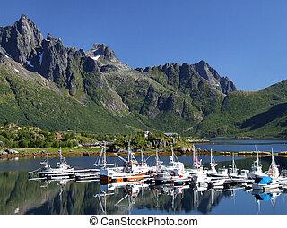 marina, scenico, yacht, norvegia