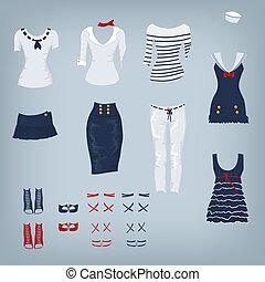 marina, set, femmina, vestiti