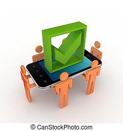 mark., mobile, persone, telefono, zecca, verde, 3d, piccolo