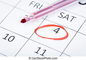 marker., rosso, 2020, data, marcato, importante, calendario, pagina
