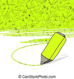 marker., ufficio affari, riuscito, vector., grafici, highlighter giallo, evidenziato